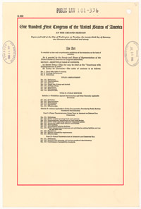 The title page of the Americans with Disabilities Act that shows the sections of the bill and is stamped with the White House RECEIVED stamp.
