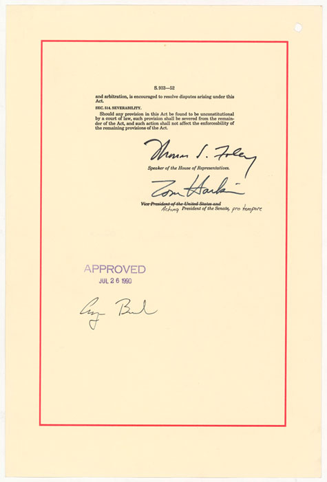 Signatory page of the ADA that shows the signature of President H.W. Bush.