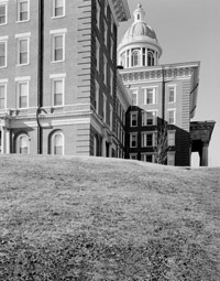 Exterior side view of the St. Louis County Insane Asylum.